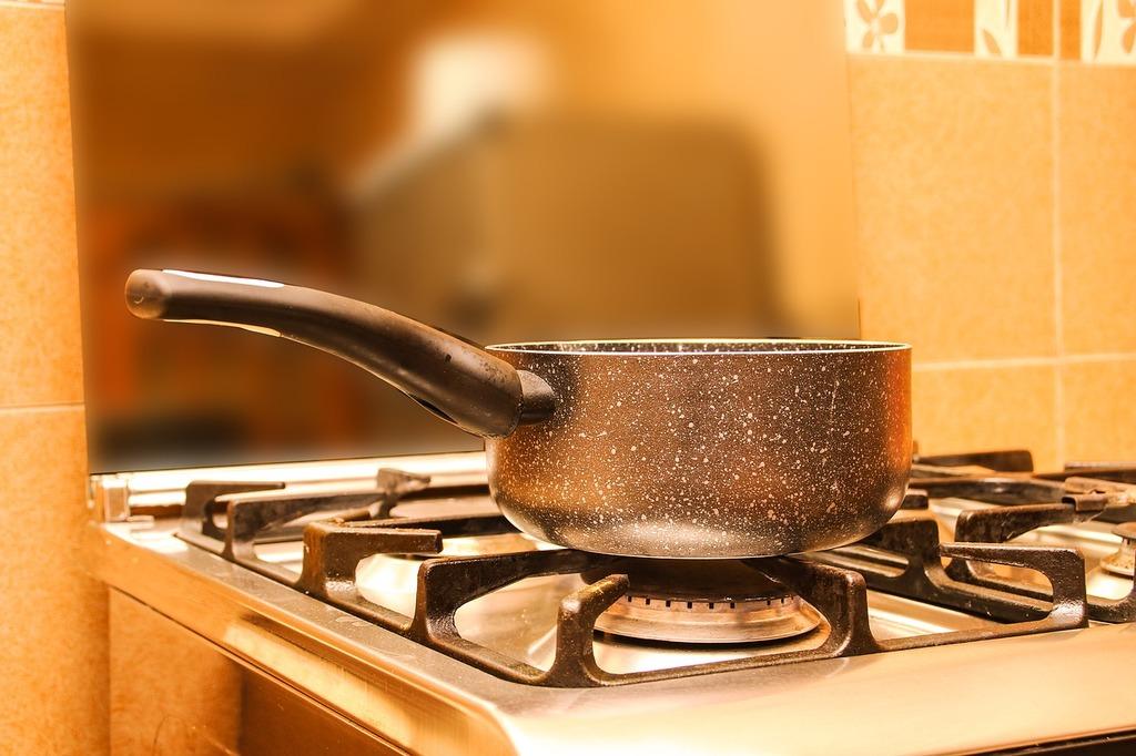 Pan stove fire.