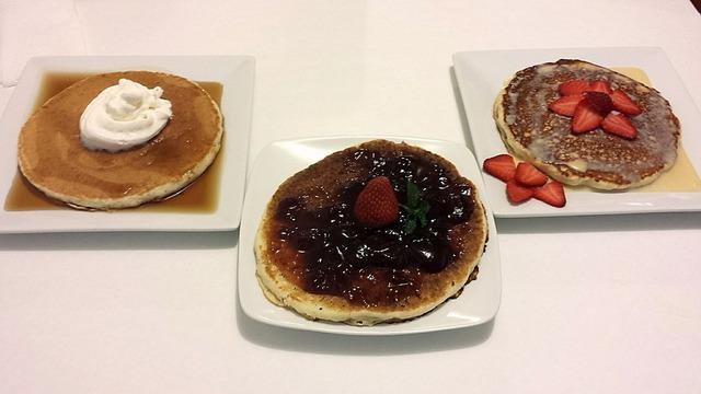 Pancake honey cream, food drink.