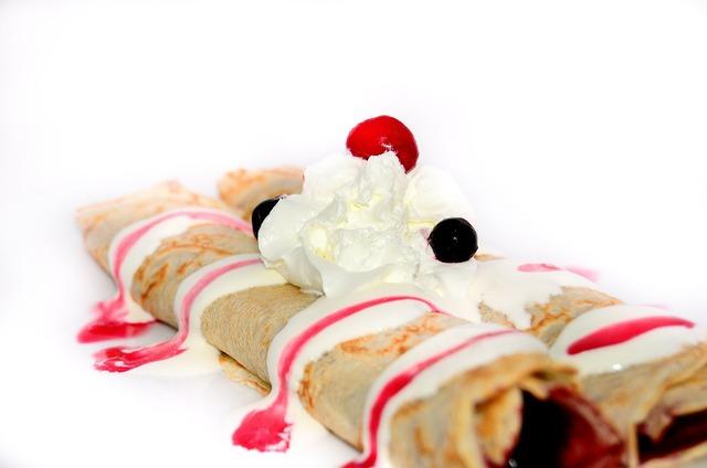Pancakes dessert fruit, food drink.