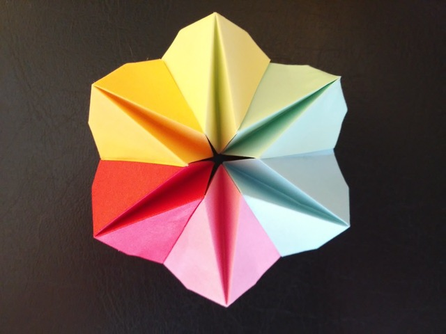 Paper flower origami colorful.