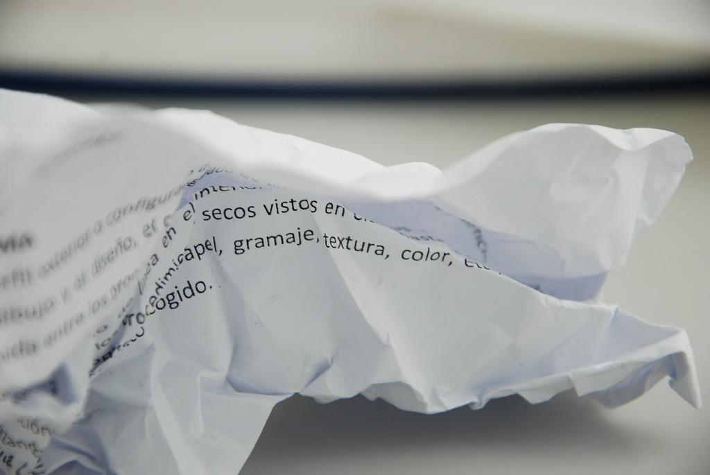 Paper wrinkled white.