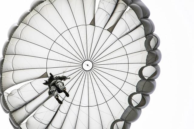 Parachute jump opened skydiving, people.