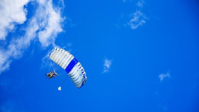 Parachute parachuting parachutist.
