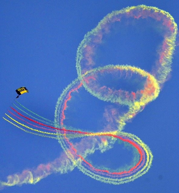 Parachute sky diving demonstration.