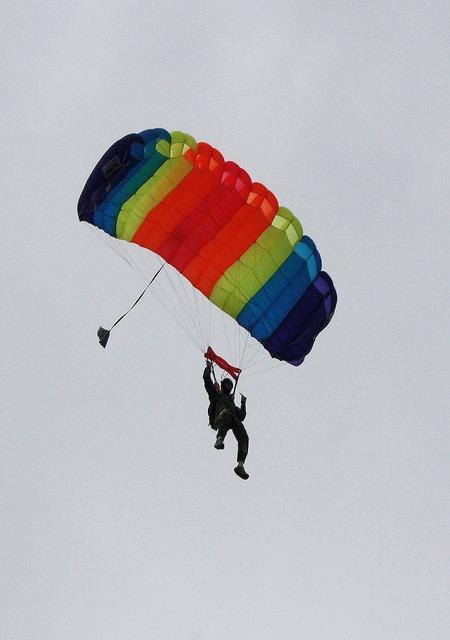 Parachute skydiving jump, sports.