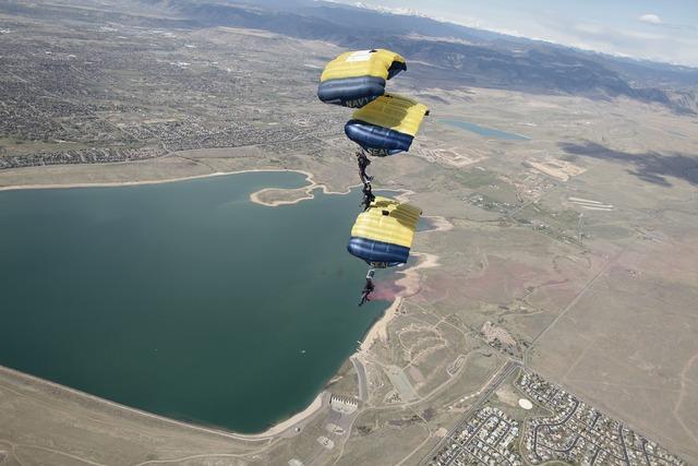 Parachute team skydiving.