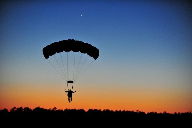 Parachuting landing parachutist, people.