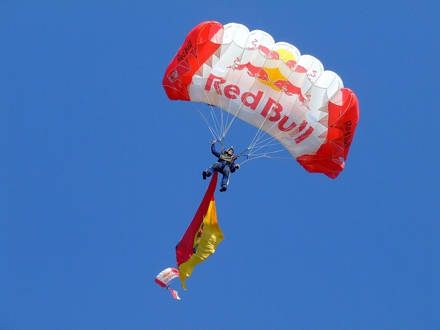 Parachuting red bull chute, sports.