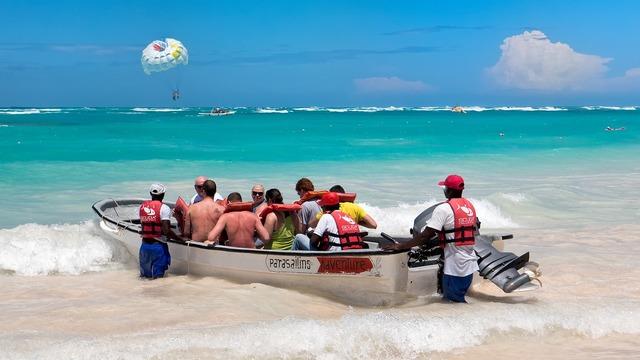 Parasailing boat water, travel vacation.