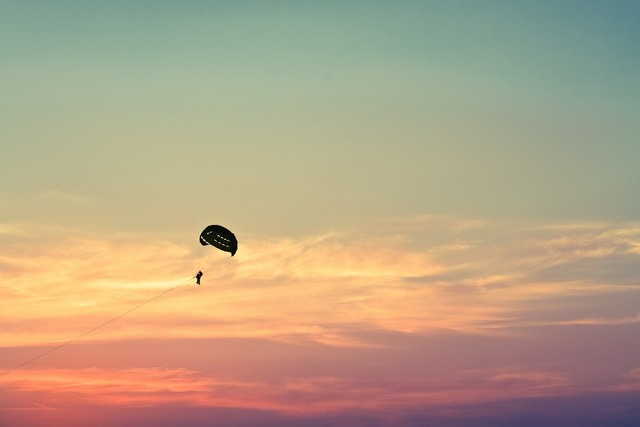 Parasailing paragliding sky, travel vacation.