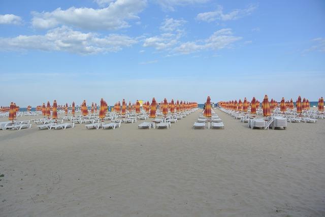Parasol beach sun lounger, travel vacation.