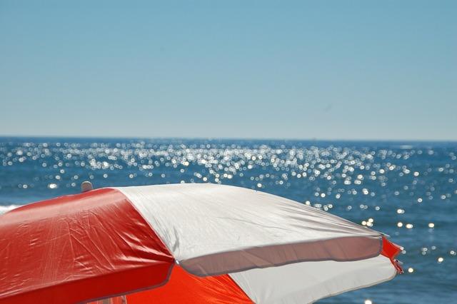 Parasol sea beach, travel vacation.