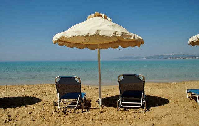 Parasol sun lounger sea, travel vacation.