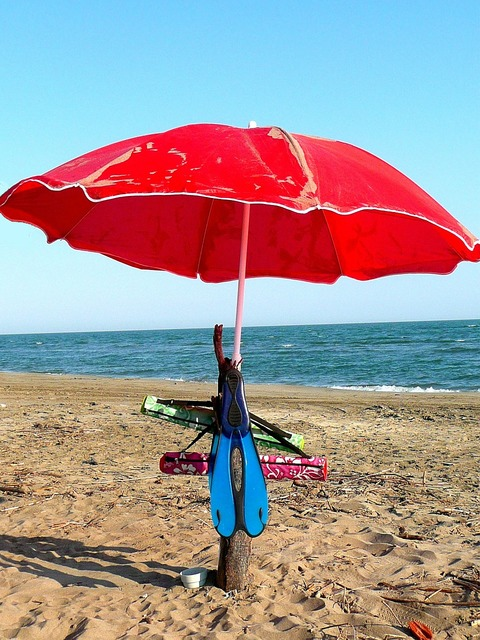 Parasols beach beach holiday, travel vacation.