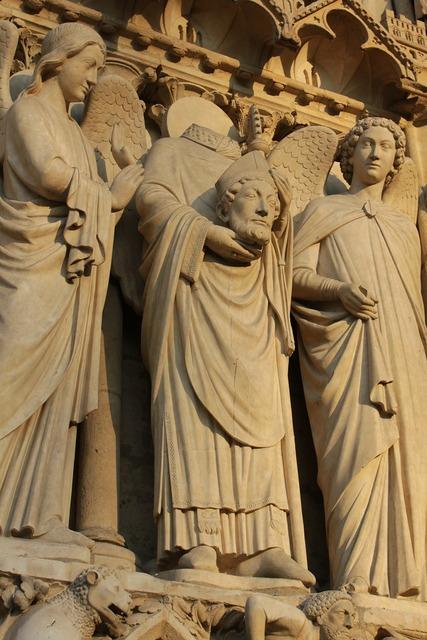 Paris church statue, religion.