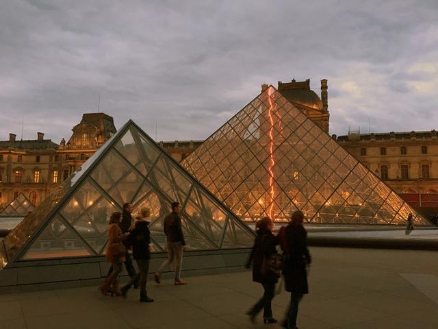 Paris louvre pyramid, architecture buildings.