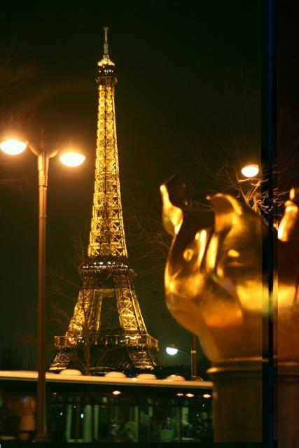 Paris night night view, architecture buildings.