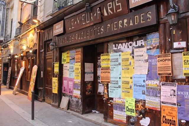 Paris shop street, transportation traffic.