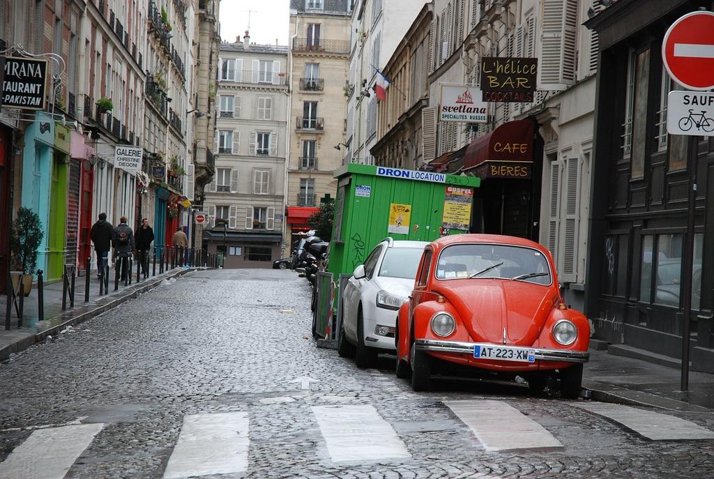 Paris street cars, transportation traffic.