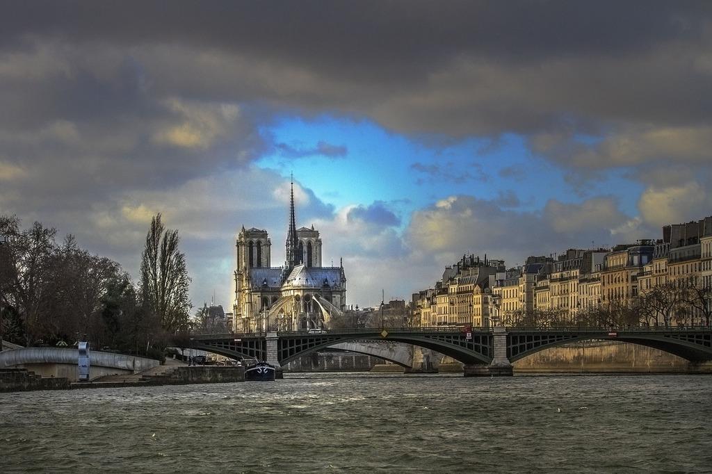 Paris the river seine notre dame.