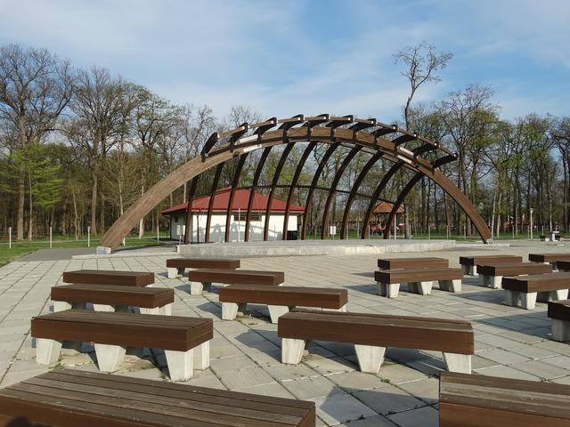 Park amphitheatre bench.