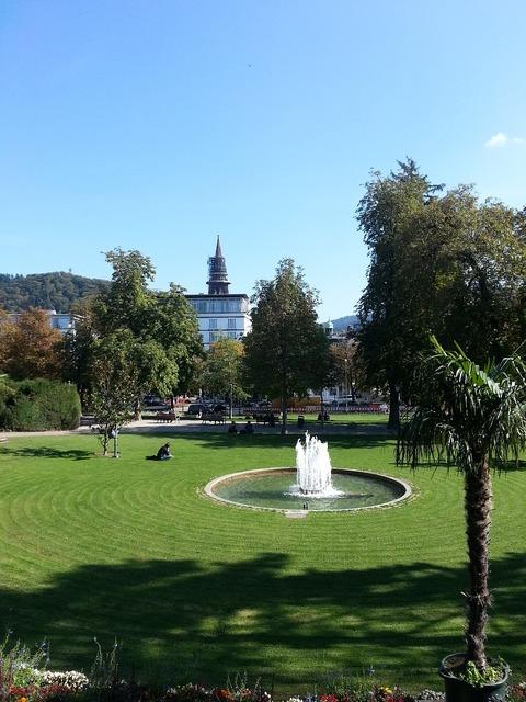 Park fountain meadow.