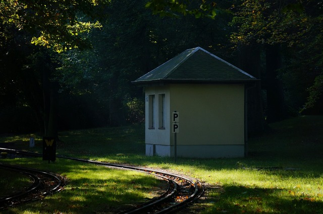 Park railway track sunbeam.