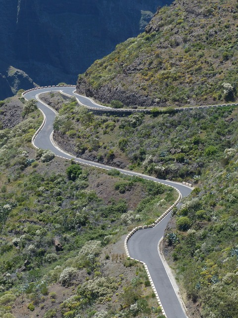 Pass road mountain road curves, transportation traffic.