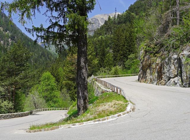 Pass road serpentine alpine.