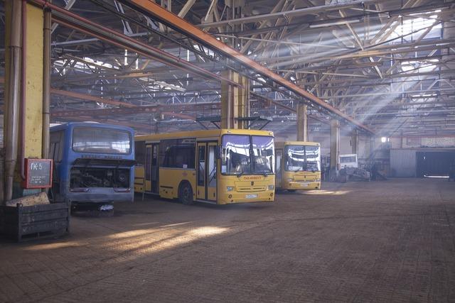 Passenger bus repair, nature landscapes.