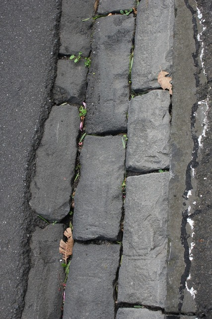 Pavement stone floor, transportation traffic.