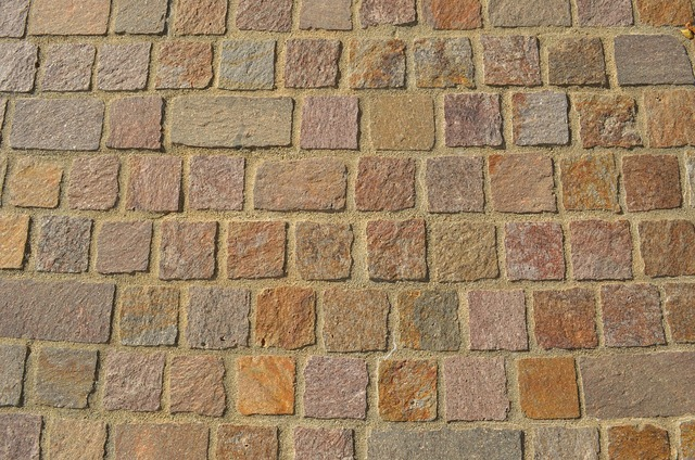 Paving stone brick wall, backgrounds textures.