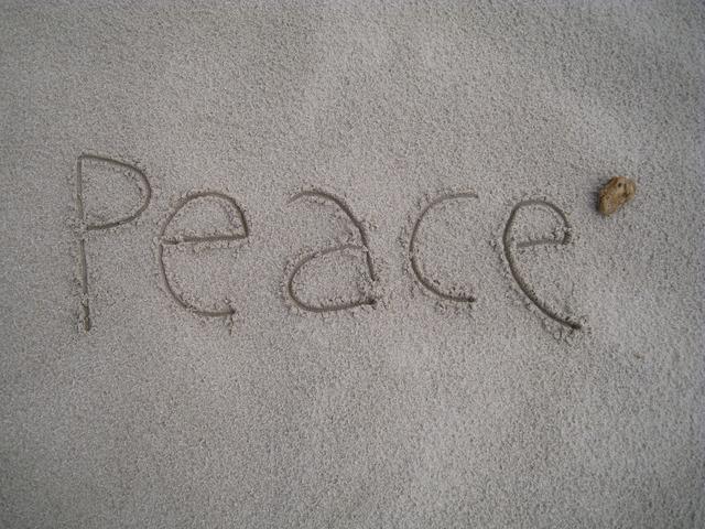Peace beach sand, travel vacation.