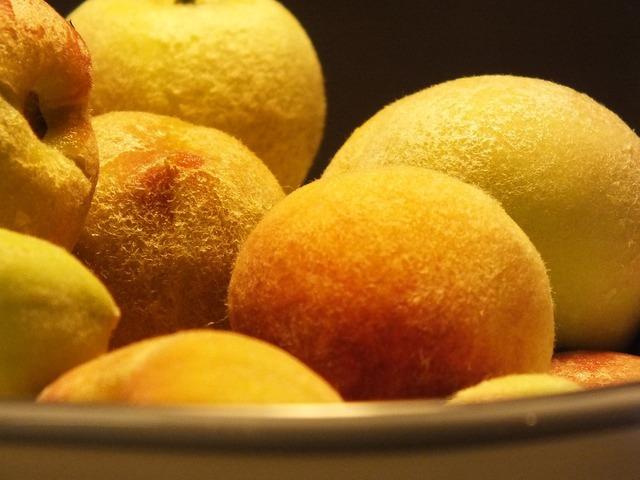 Peach fruit fuzz, food drink.