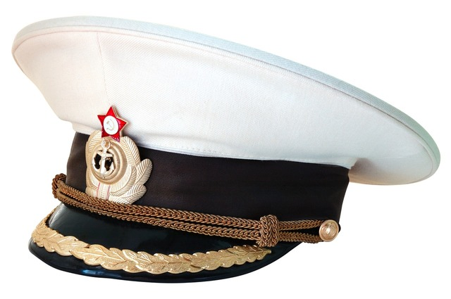 Peaked cap captain navy.