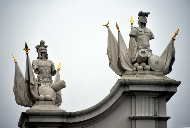 Pediment statues soldiers.
