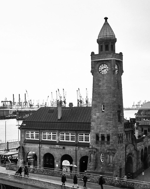 Pegelturm landungsbrücken port of hamburg, architecture buildings.