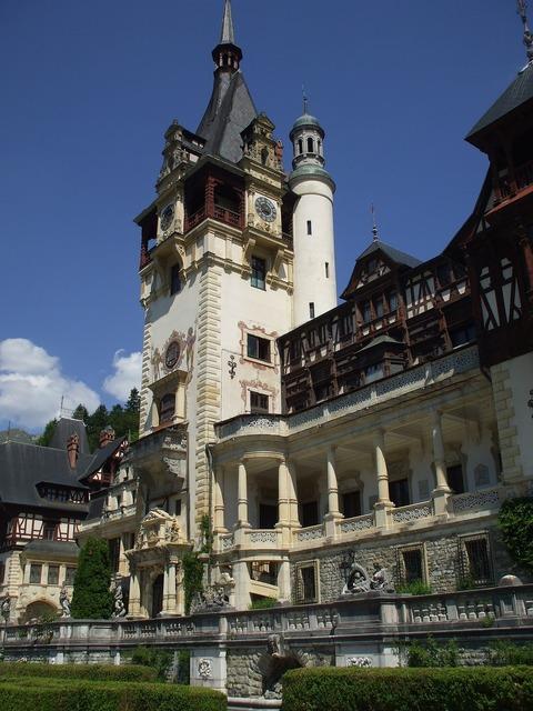 Peles palace castle, architecture buildings.