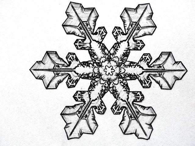 Pencil drawing snowflake ice crystal.