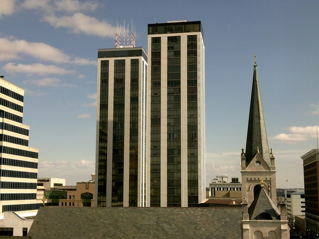 Peoria downtown illinois, architecture buildings.
