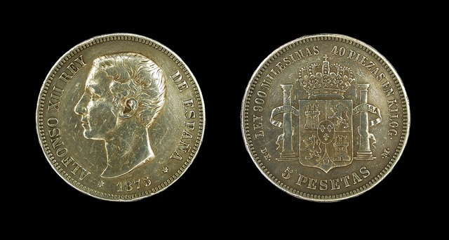 Pesetas alfonso xii spain, business finance.