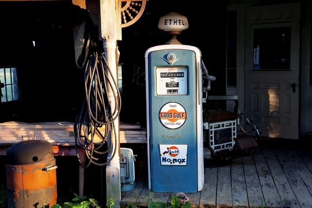 Petrol stations antique gas pump.