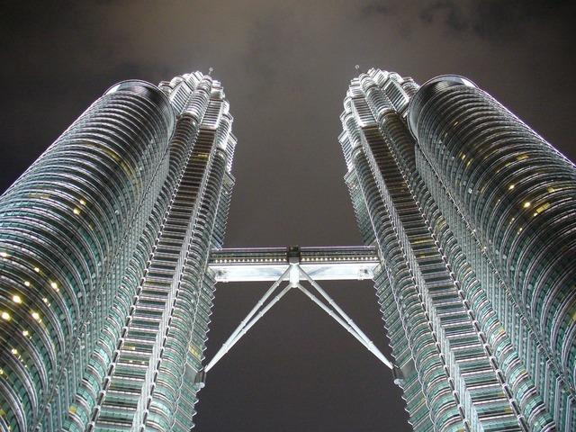 Petronas towers kuala lumpur lights, architecture buildings.