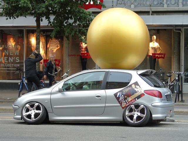 Peugeot wheel out car, transportation traffic.