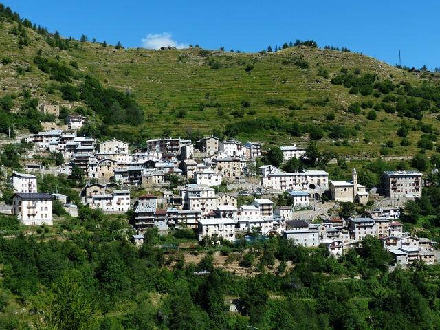 Piaggia village place, architecture buildings.