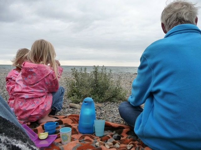 Picnic baltic sea children, travel vacation.
