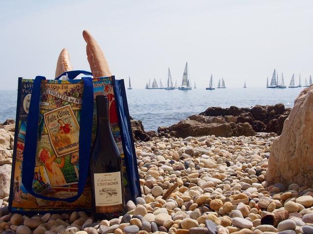 Picnic sea beach, travel vacation.