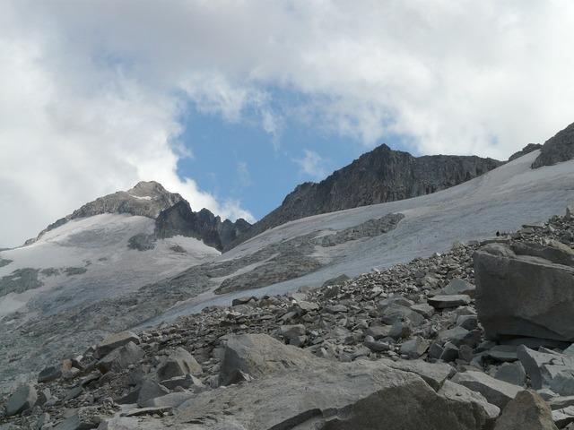 Pico aneto glacier mountain, nature landscapes.