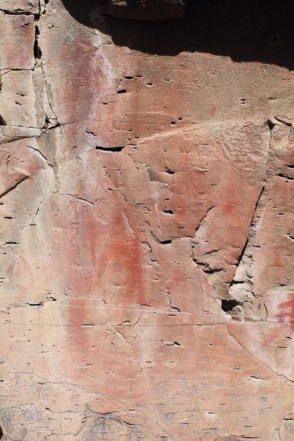 Pictograph rock art drawing.