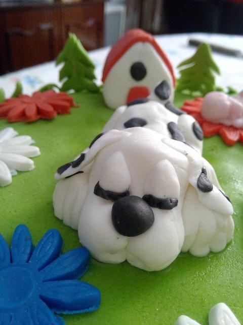 Pie birthday dog, animals.